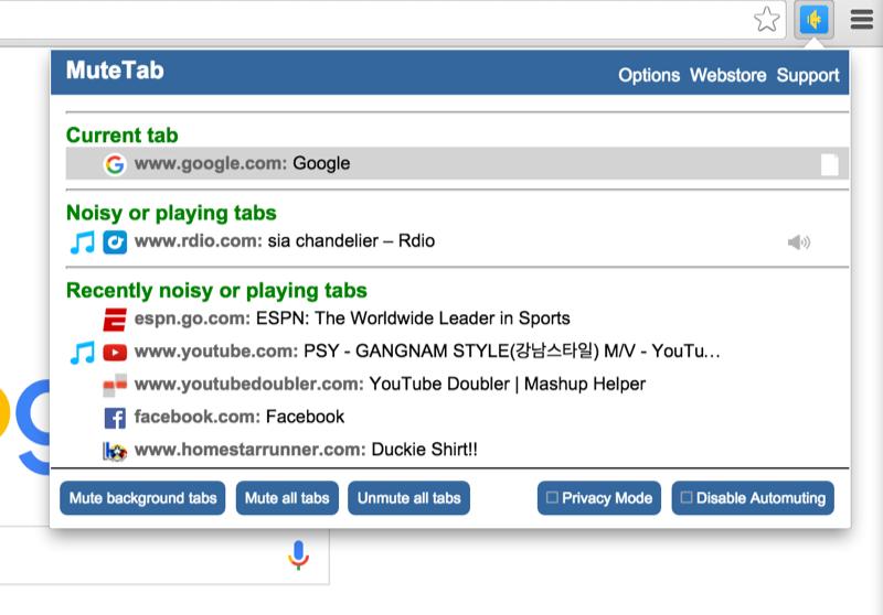 MuteTab: Browser-wide Granular Sound Management For Google